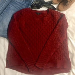 NWOT- Brick Red cable knit sweater